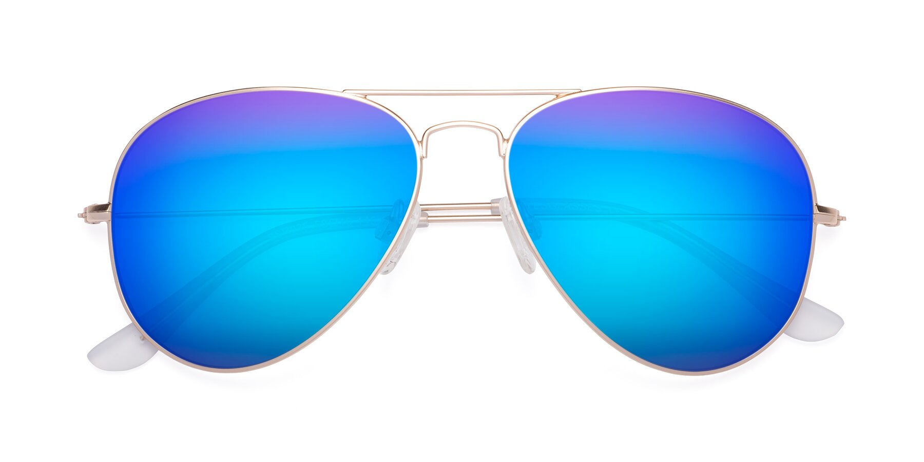 Folded Front of Yesterday in Jet Gold with Blue Mirrored Lenses