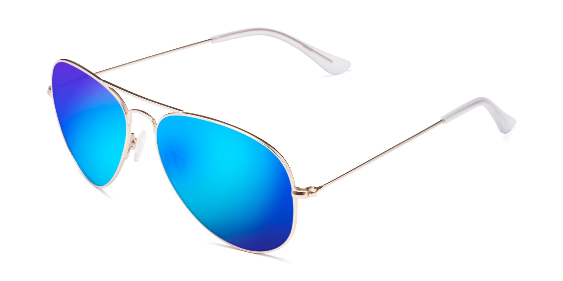 Angle of Yesterday in Jet Gold with Blue Mirrored Lenses