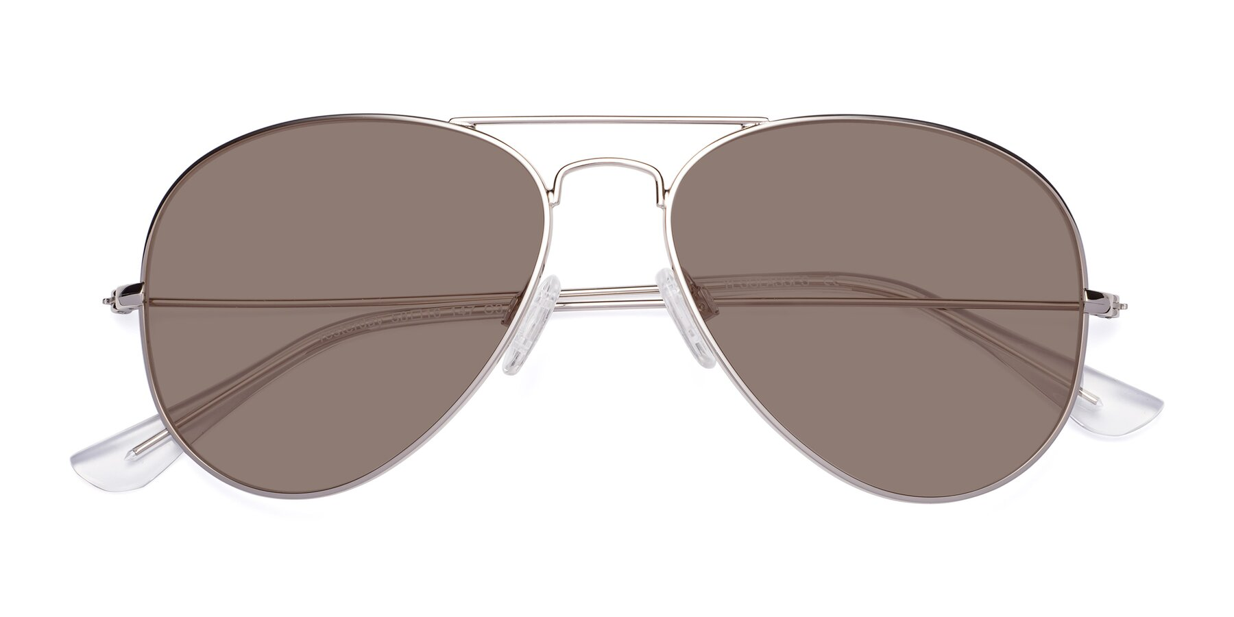 Folded Front of Yesterday in Silver with Medium Brown Tinted Lenses
