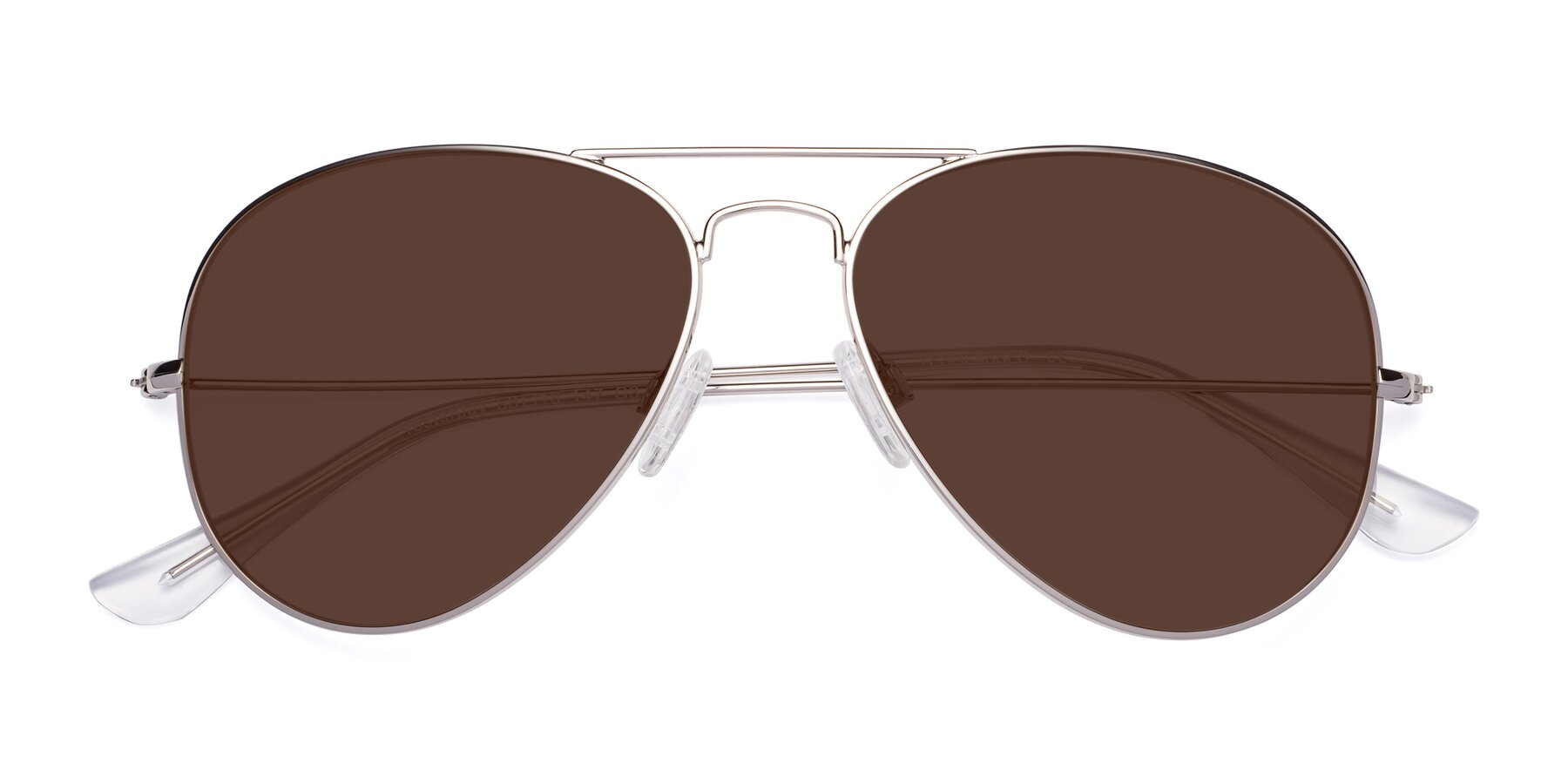 Folded Front of Yesterday in Silver with Brown Tinted Lenses