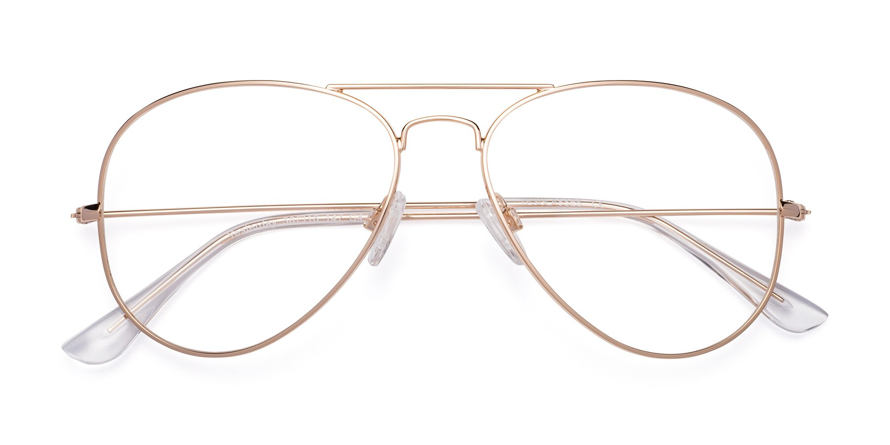 Folded Front of Yesterday in Shiny Gold with Clear Eyeglass Lenses
