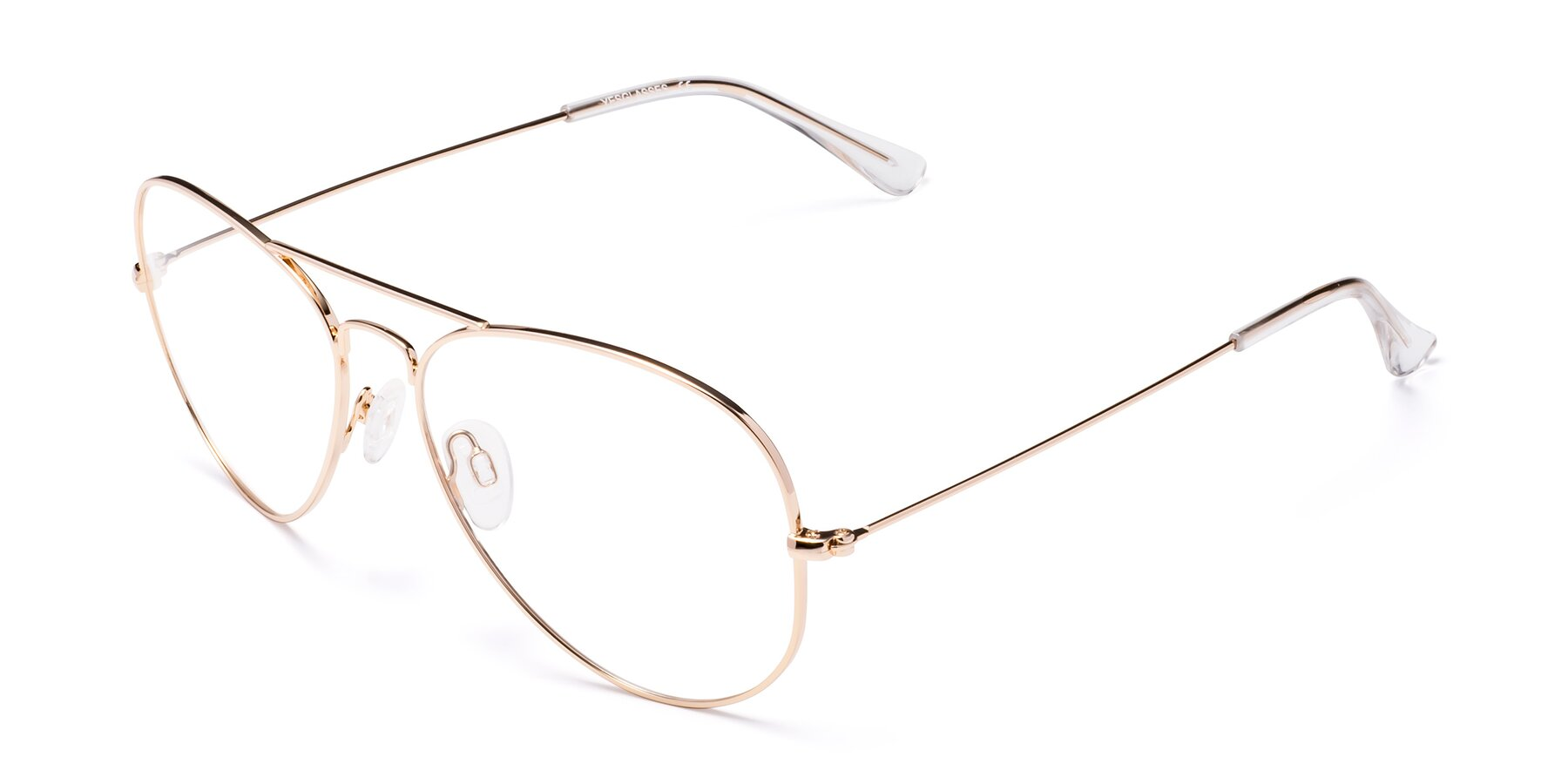 Angle of Yesterday in Shiny Gold with Clear Eyeglass Lenses