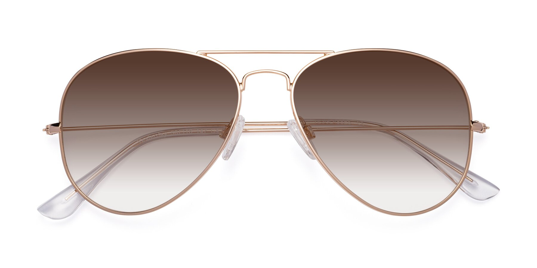 Folded Front of SSR035 in Shiny Gold with Brown Gradient Lenses