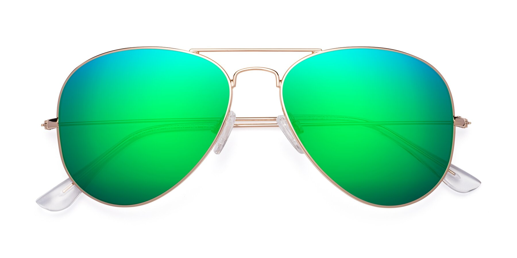 Folded Front of Yesterday in Shiny Gold with Green Mirrored Lenses