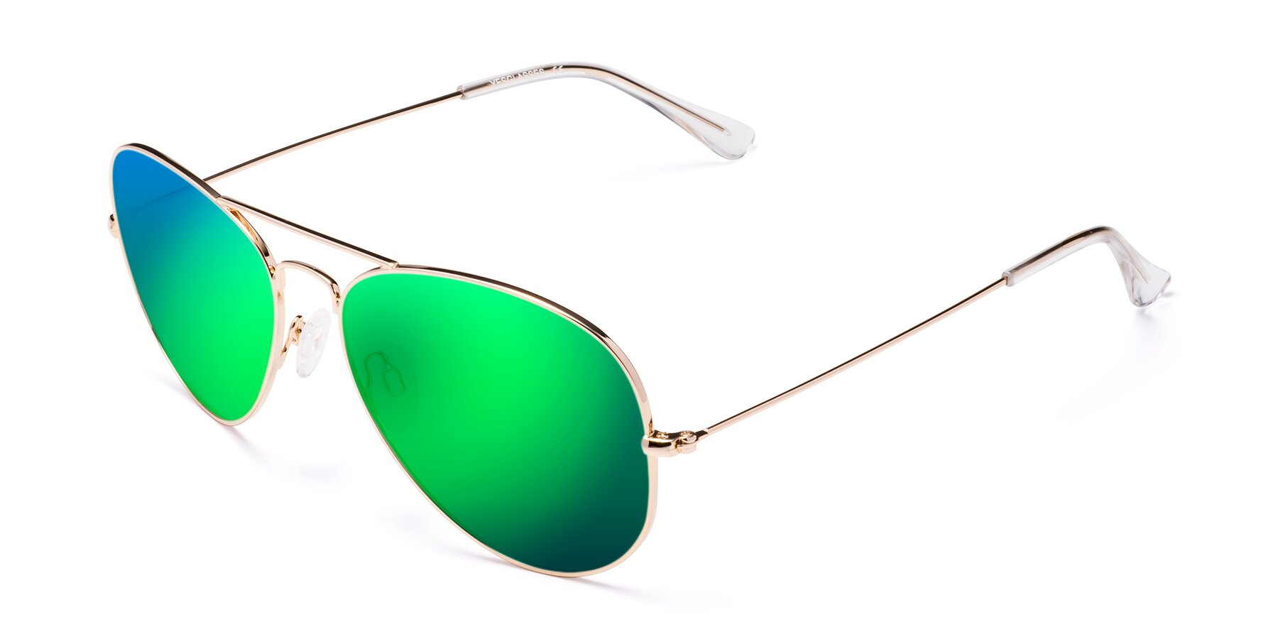 Angle of Yesterday in Shiny Gold with Green Mirrored Lenses