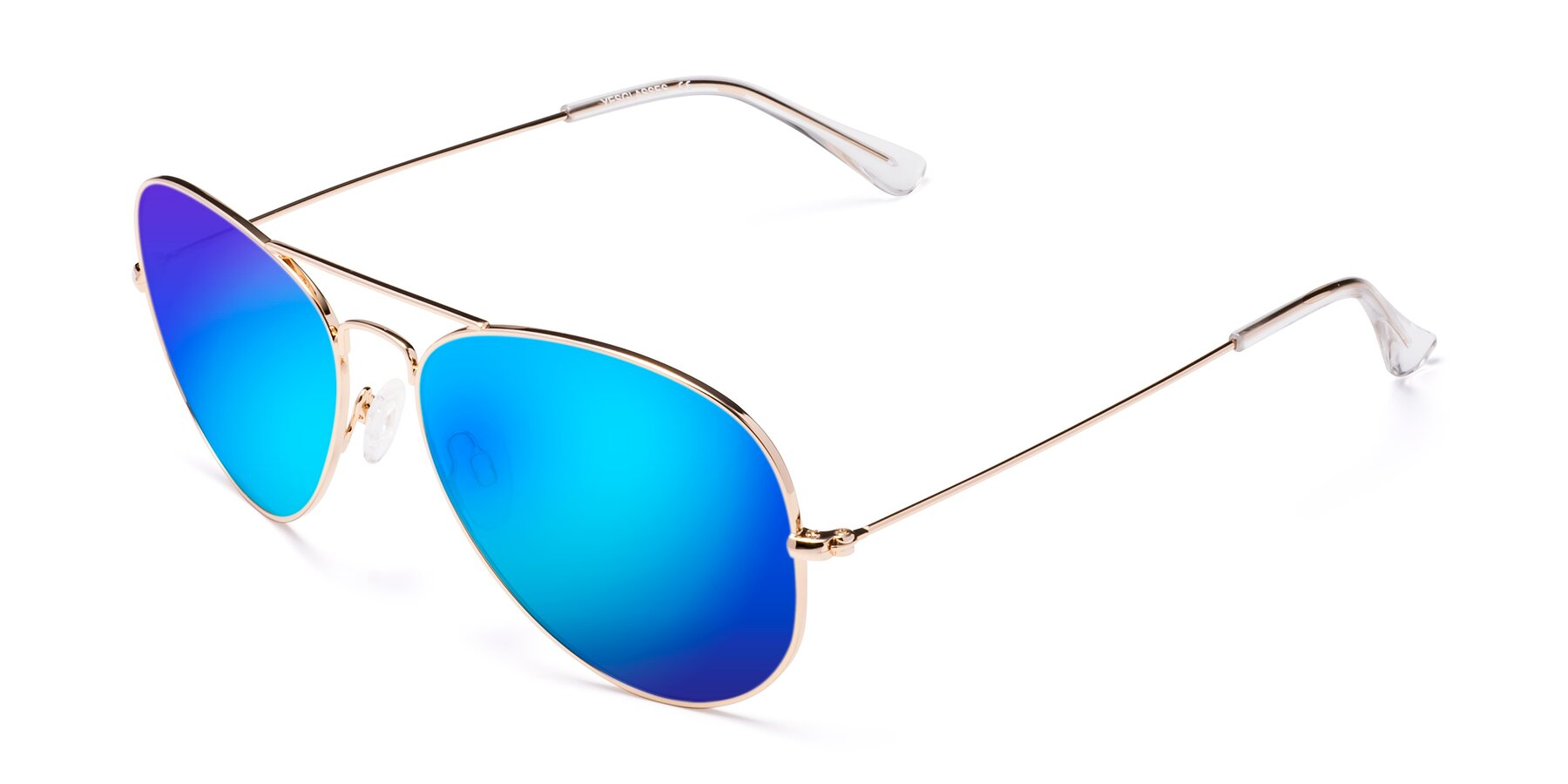 Angle of Yesterday in Shiny Gold with Blue Mirrored Lenses