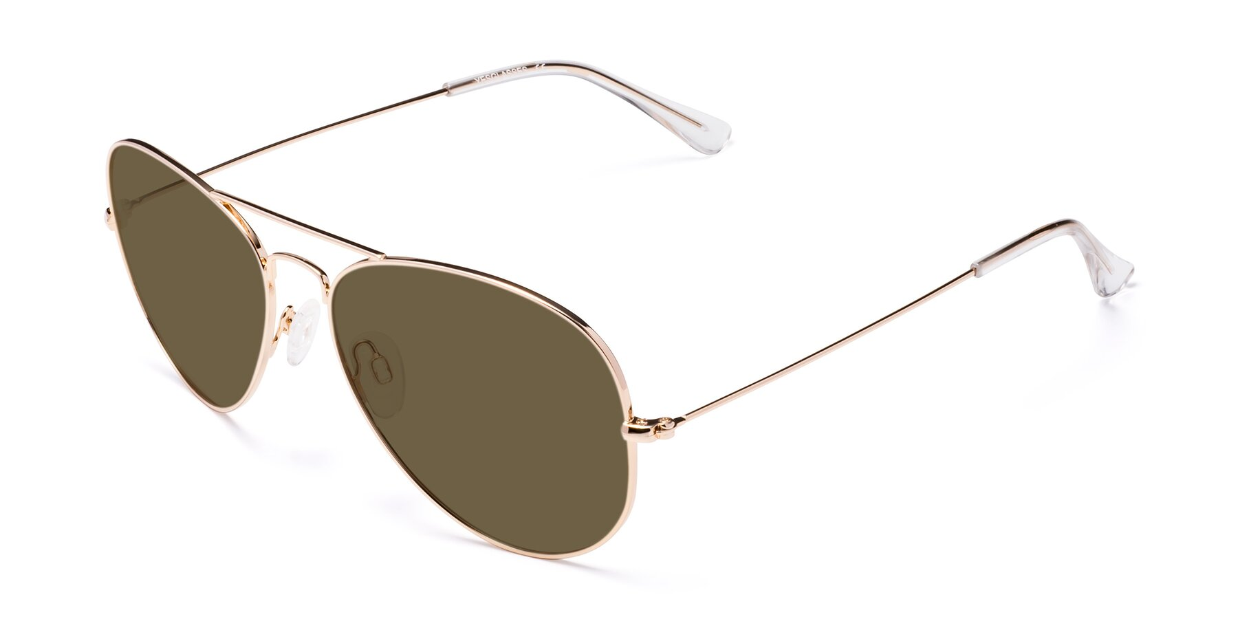 Angle of SSR035 in Shiny Gold with Brown Polarized Lenses