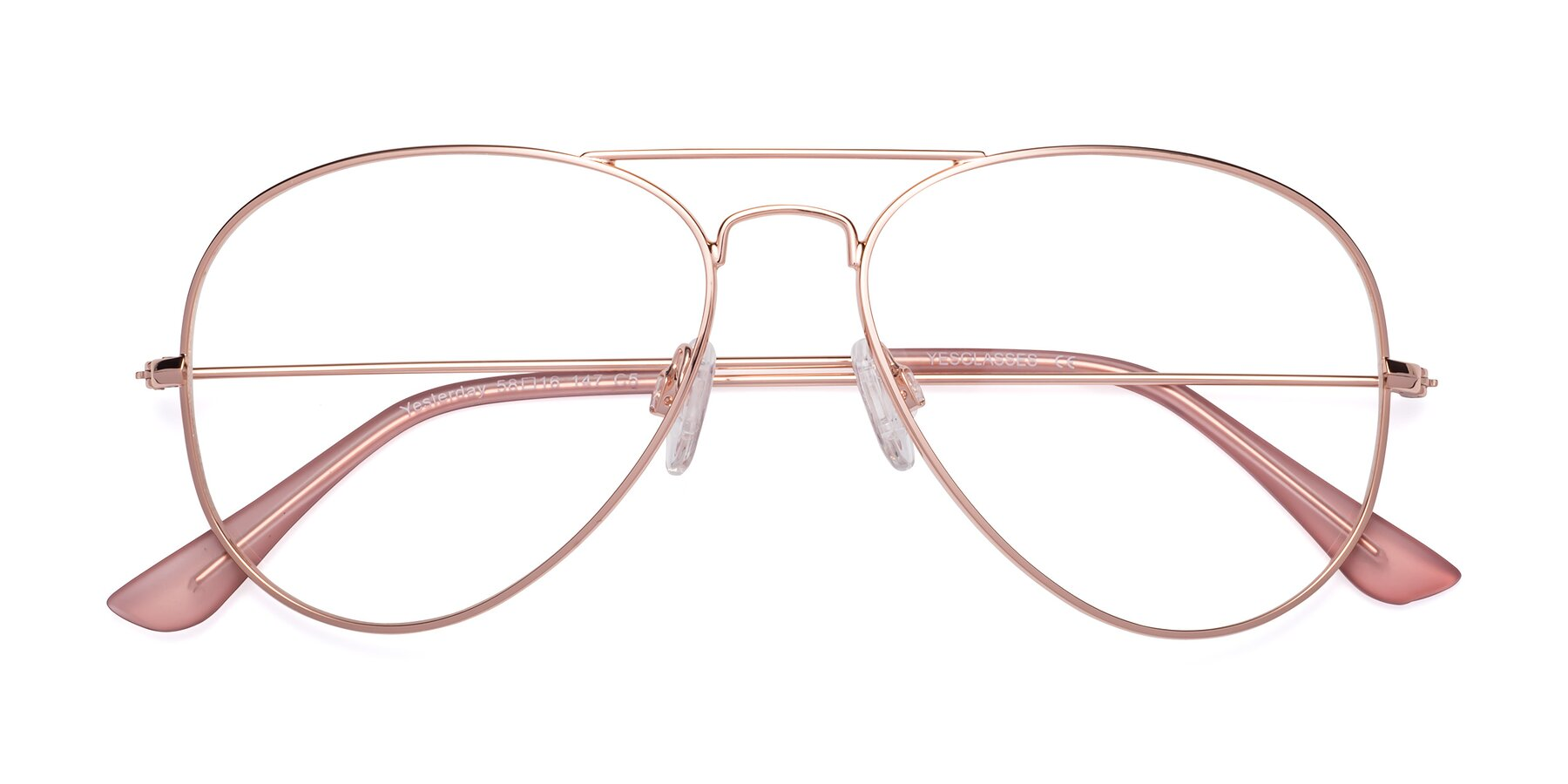 Folded Front of Yesterday in Rose Gold with Clear Eyeglass Lenses