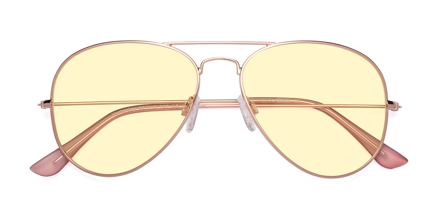 Folded Front of Yesterday in Rose Gold with Light Yellow Tinted Lenses