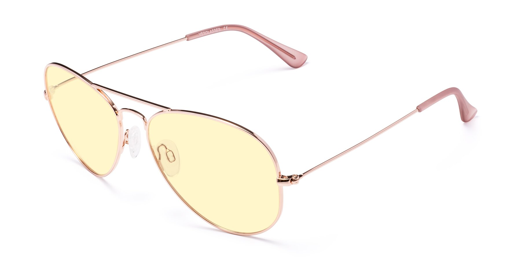 Angle of Yesterday in Rose Gold with Light Yellow Tinted Lenses
