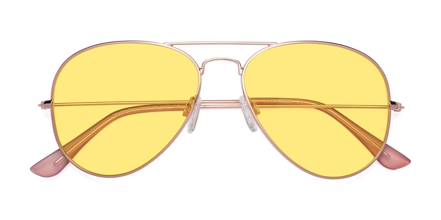 Folded Front of Yesterday in Rose Gold with Medium Yellow Tinted Lenses