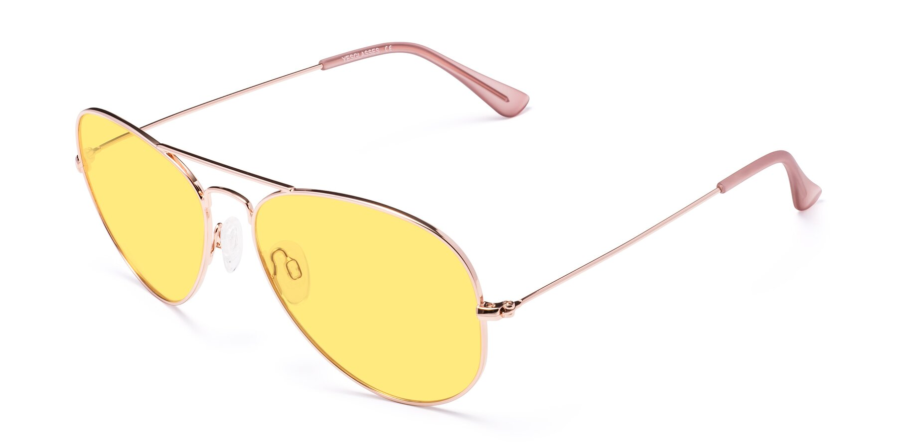 Angle of Yesterday in Rose Gold with Medium Yellow Tinted Lenses