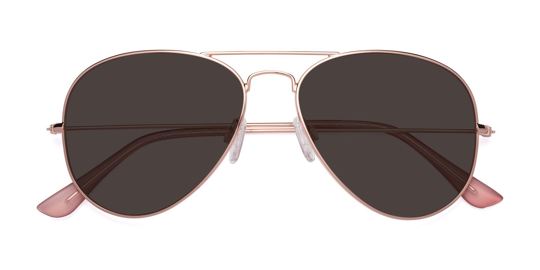 Folded Front of Yesterday in Rose Gold with Gray Tinted Lenses