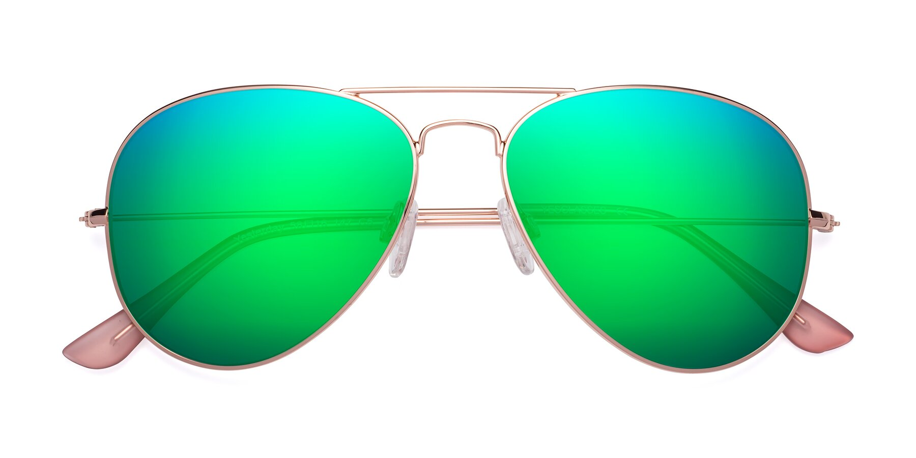 Folded Front of Yesterday in Rose Gold with Green Mirrored Lenses