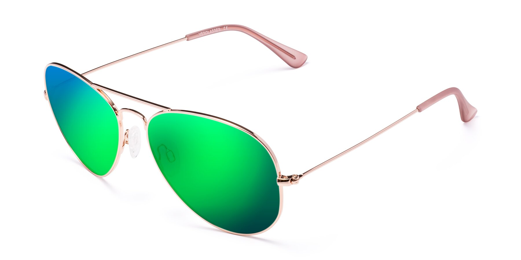 Angle of Yesterday in Rose Gold with Green Mirrored Lenses