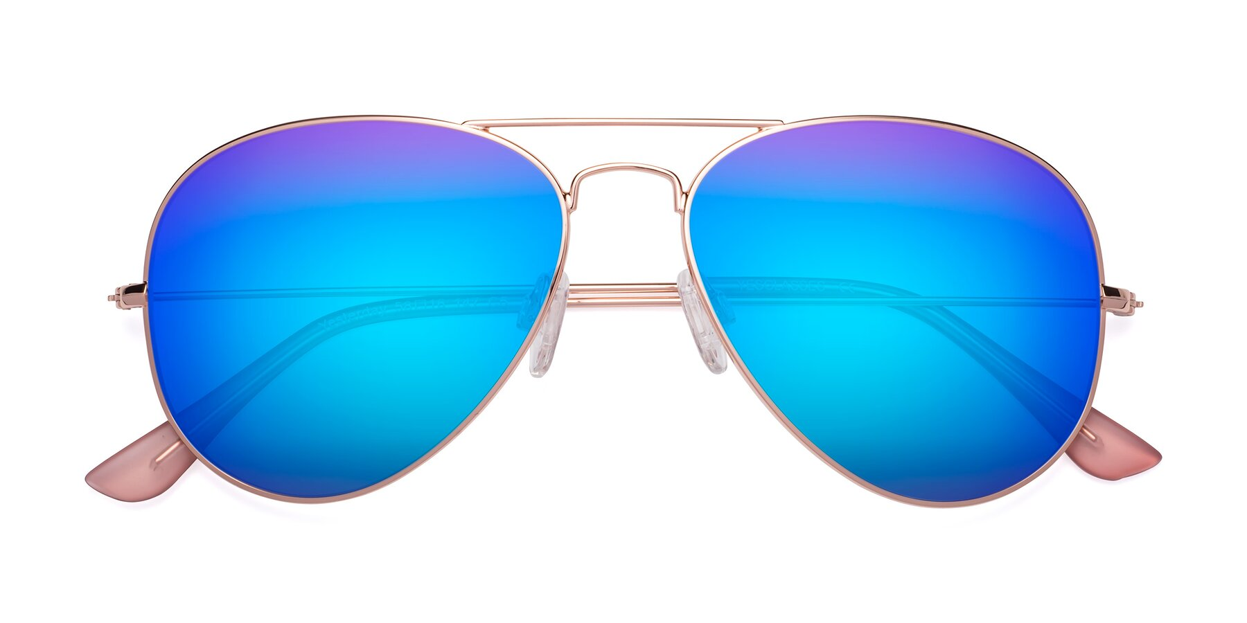 Folded Front of Yesterday in Rose Gold with Blue Mirrored Lenses