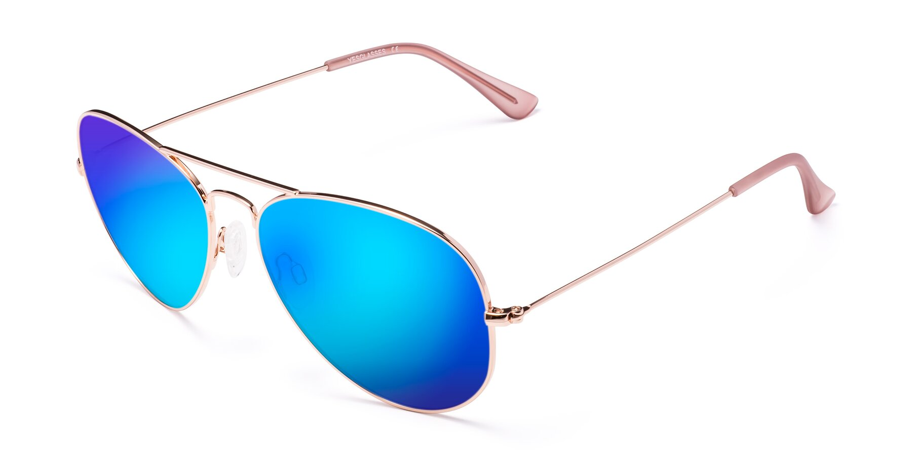 Angle of Yesterday in Rose Gold with Blue Mirrored Lenses