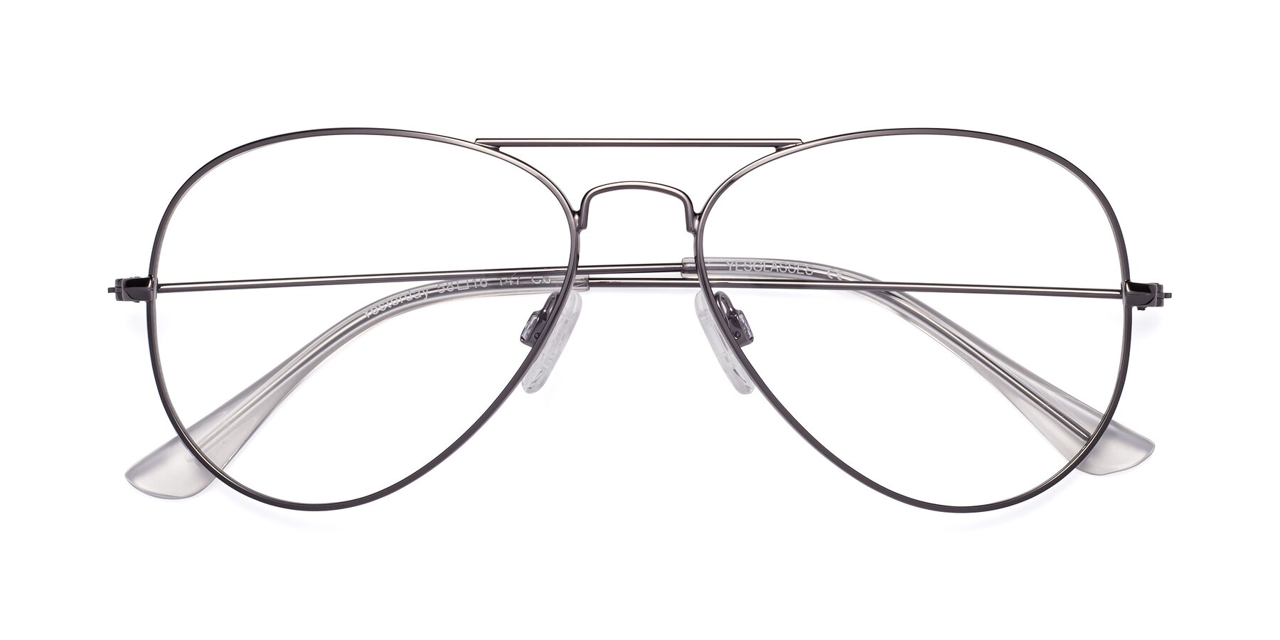 Folded Front of Yesterday in Gunmetal with Clear Eyeglass Lenses