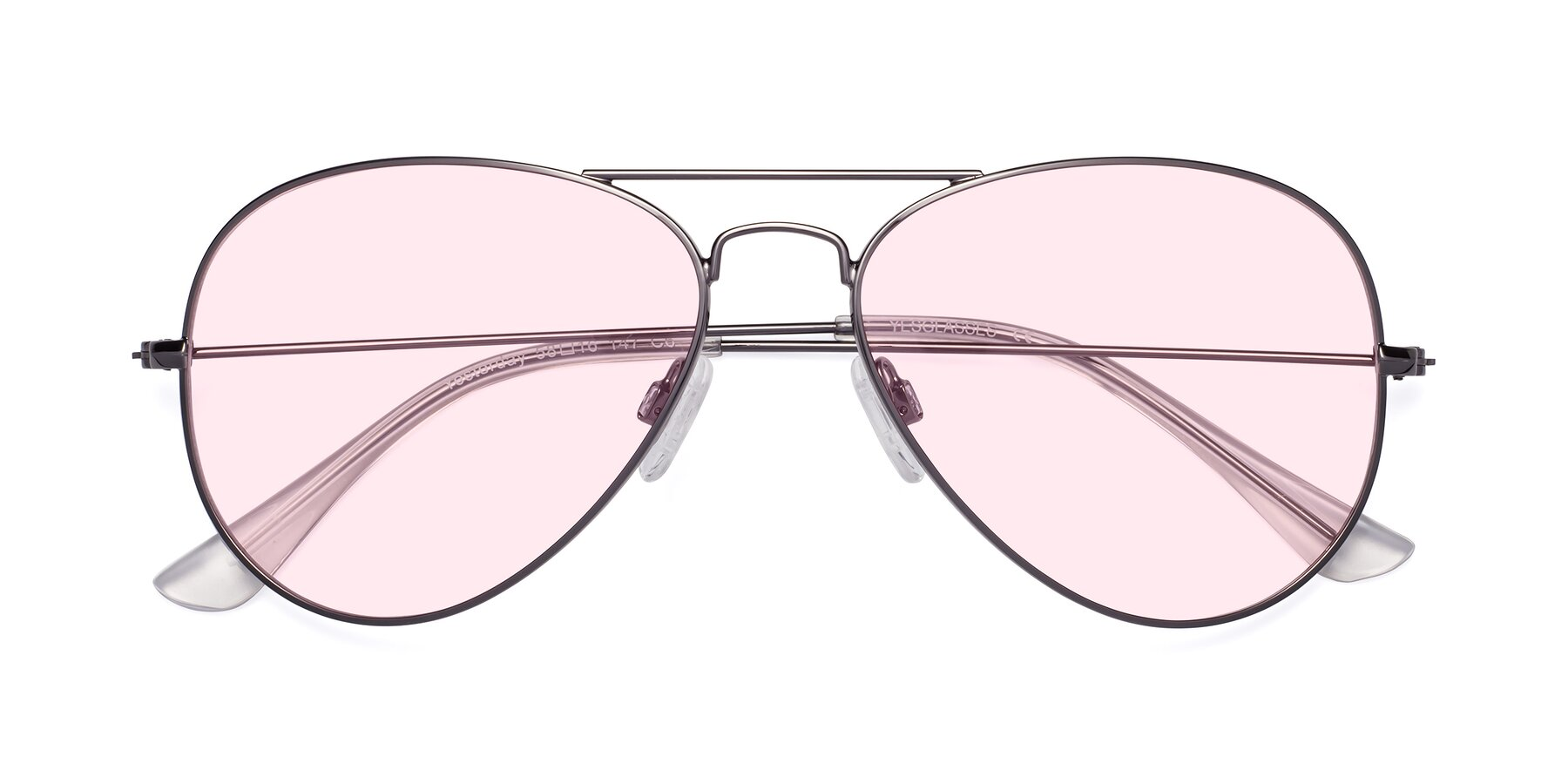 Folded Front of Yesterday in Gunmetal with Light Pink Tinted Lenses