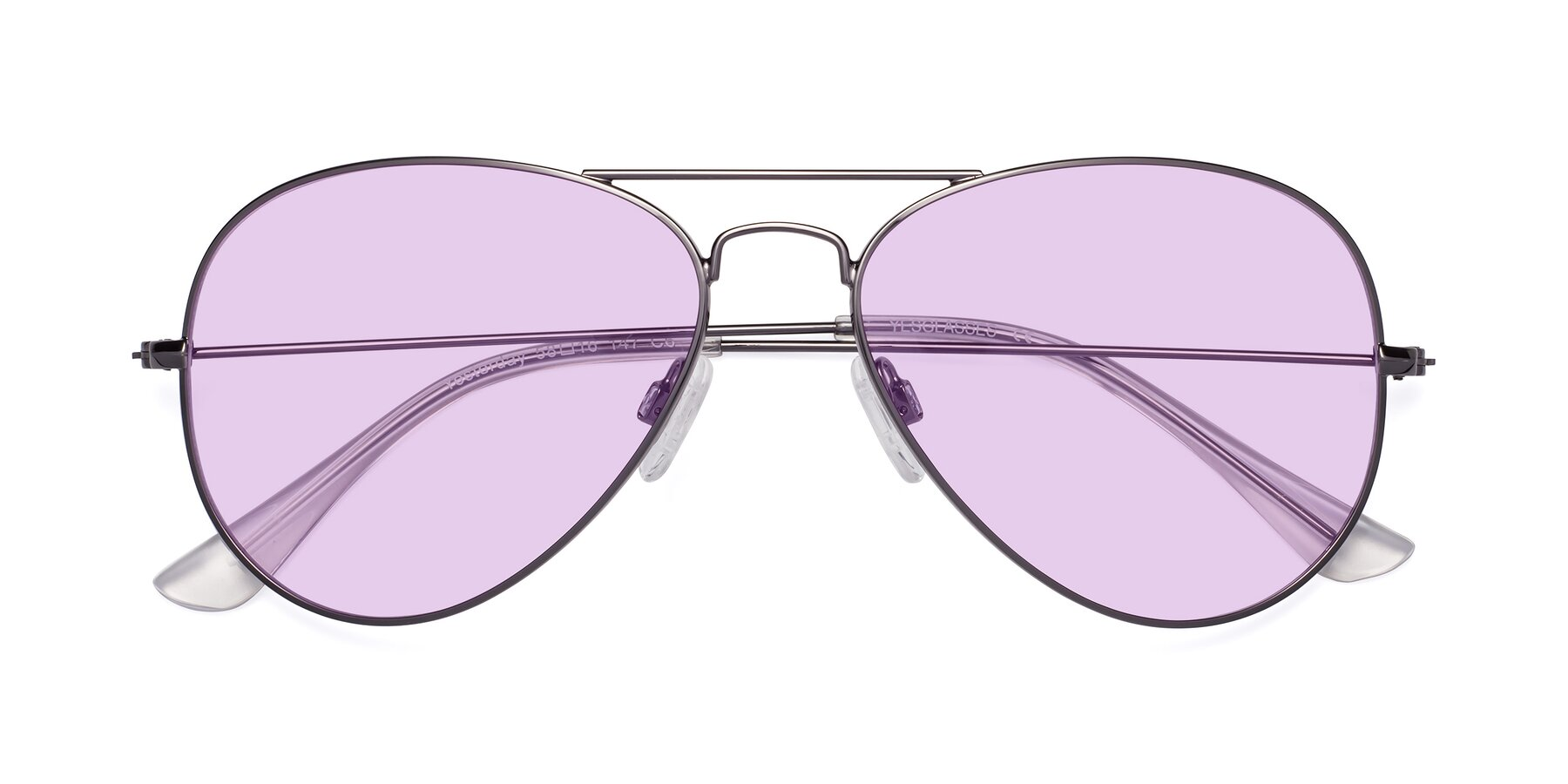 Folded Front of Yesterday in Gunmetal with Light Purple Tinted Lenses