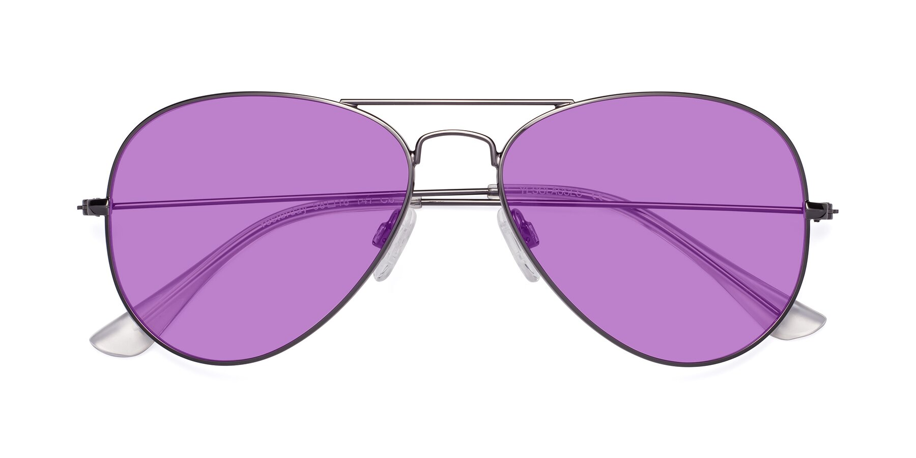 Folded Front of Yesterday in Gunmetal with Medium Purple Tinted Lenses