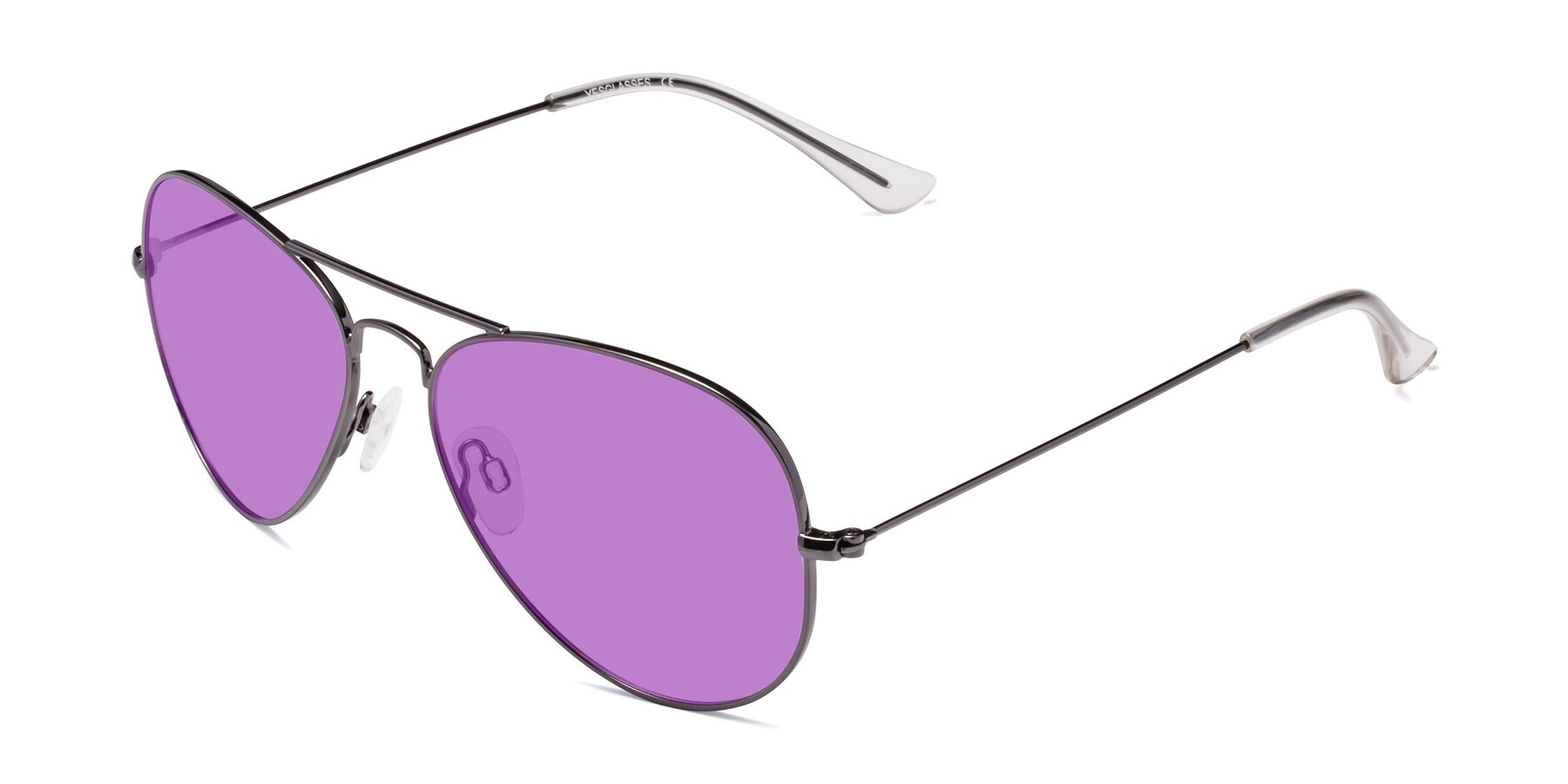 Angle of Yesterday in Gunmetal with Medium Purple Tinted Lenses