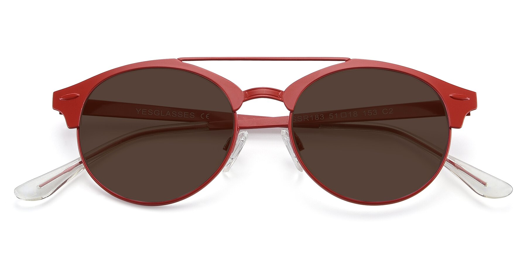 Folded Front of SSR183 in Red with Brown Tinted Lenses