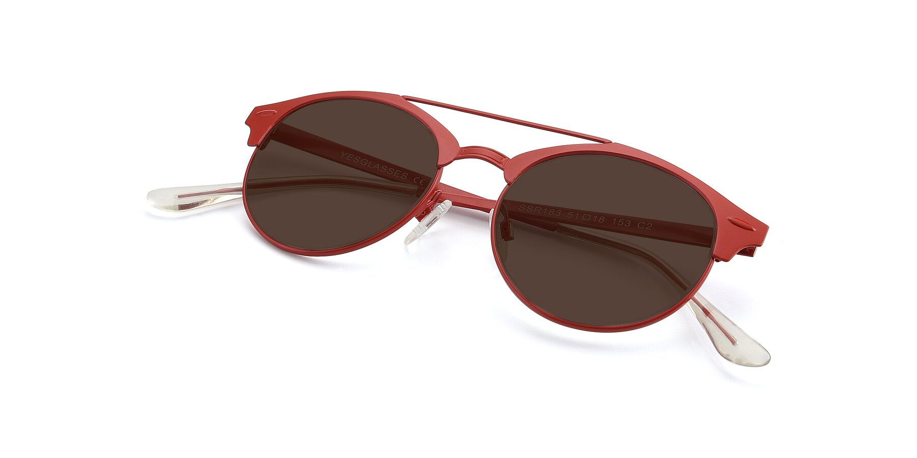 View of SSR183 in Red with Brown Tinted Lenses