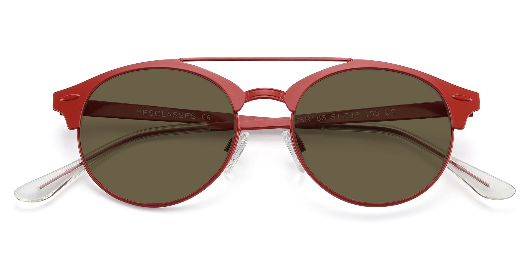 Folded Front of SSR183 in Red with Brown Polarized Lenses