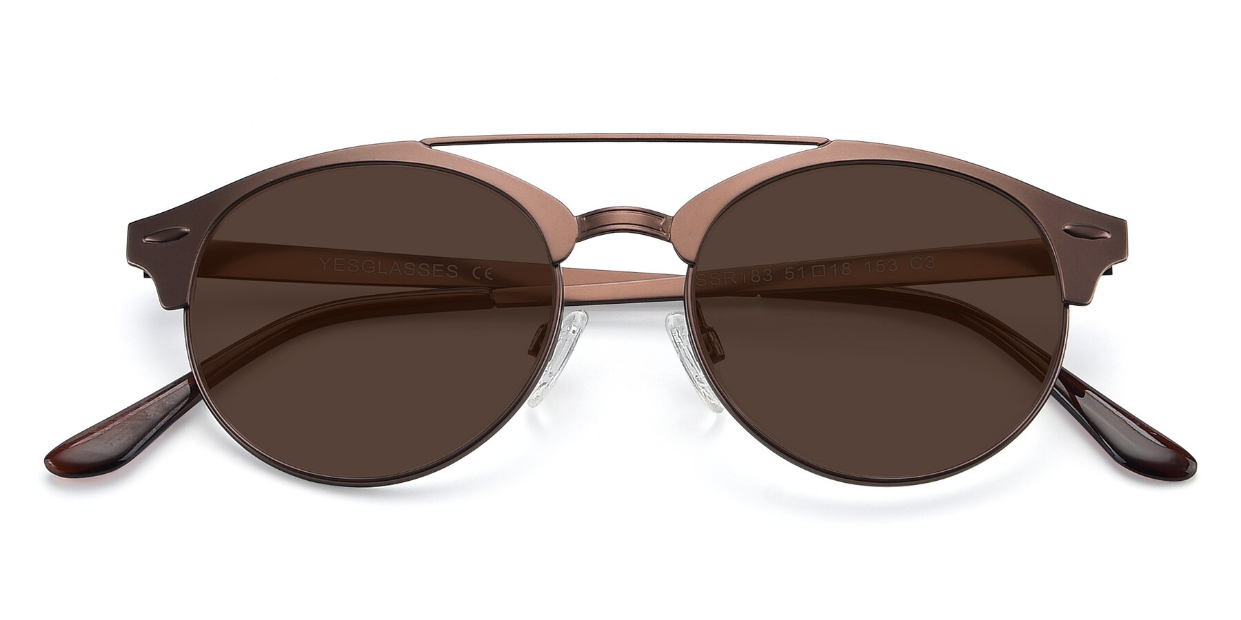 Folded Front of SSR183 in Chocolate with Brown Tinted Lenses