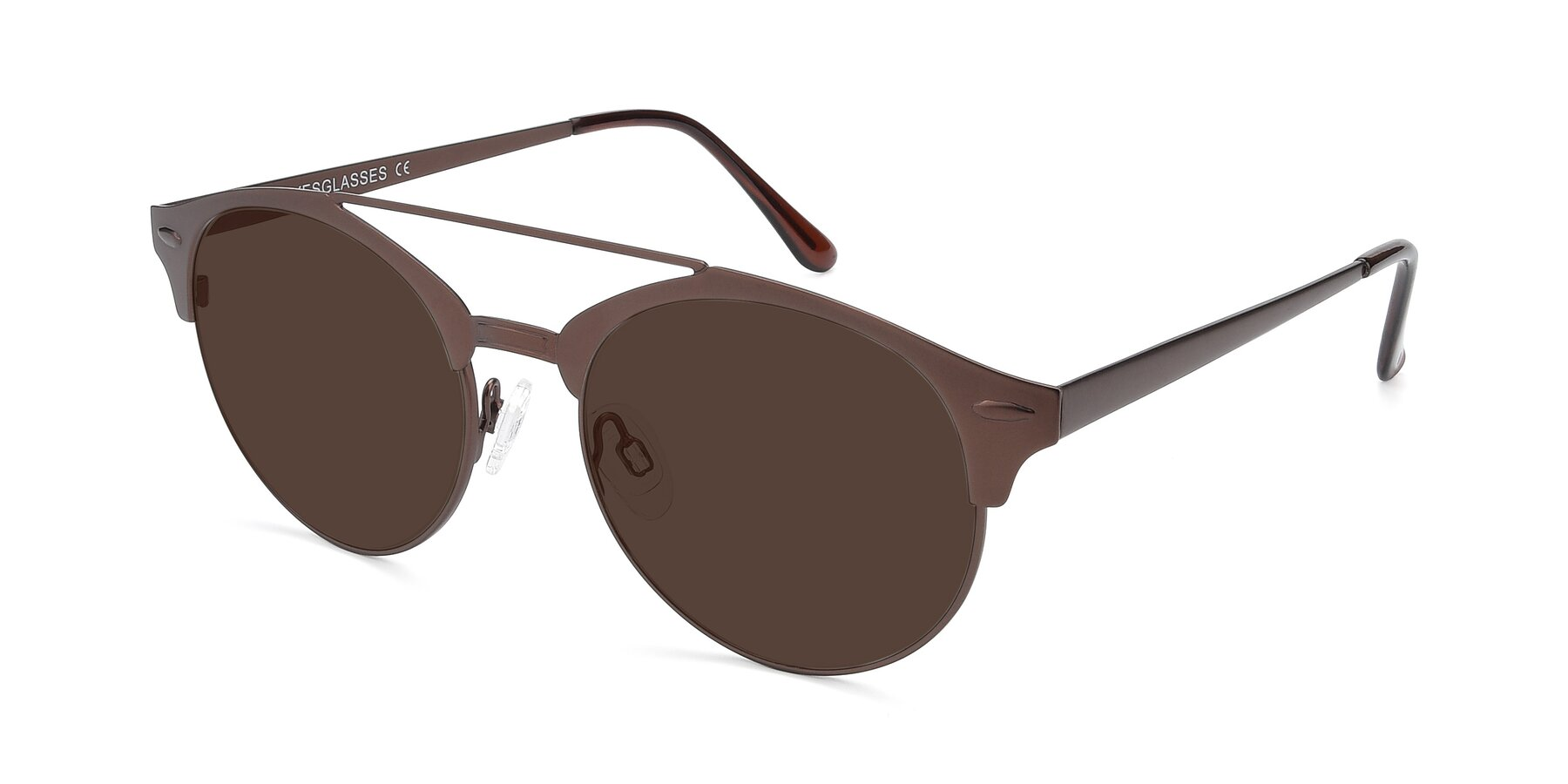 Angle of SSR183 in Chocolate with Brown Tinted Lenses