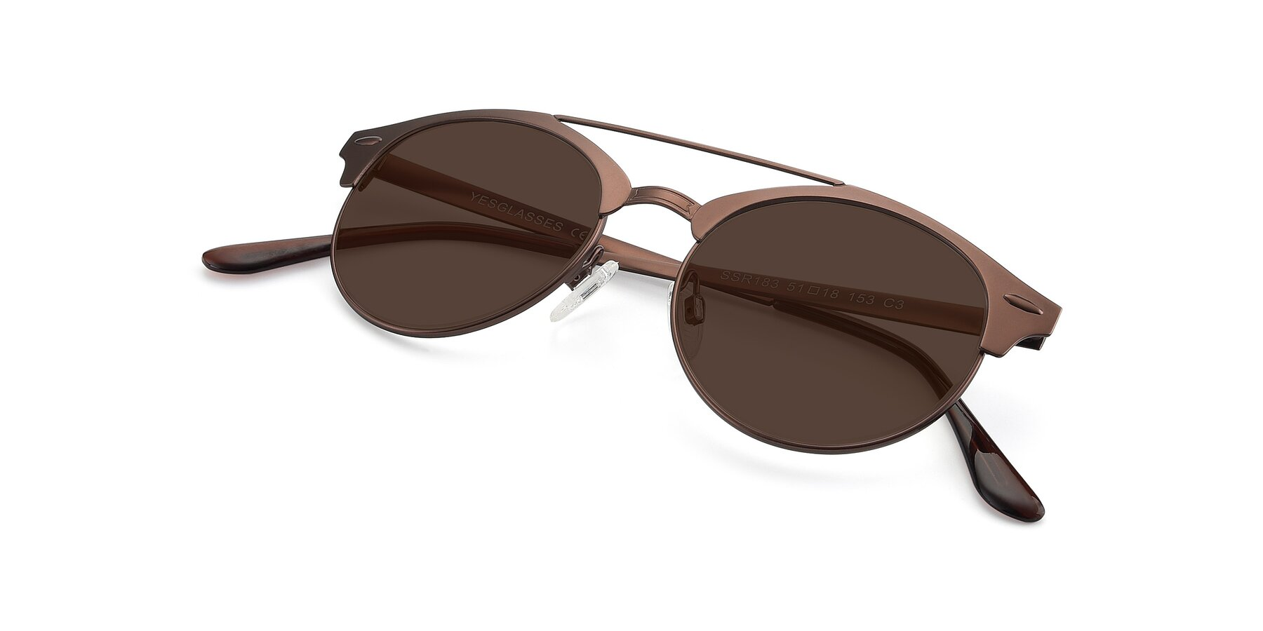 View of SSR183 in Chocolate with Brown Tinted Lenses