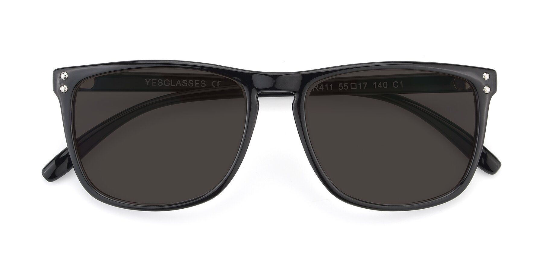Folded Front of SSR411 in Black with Gray Tinted Lenses