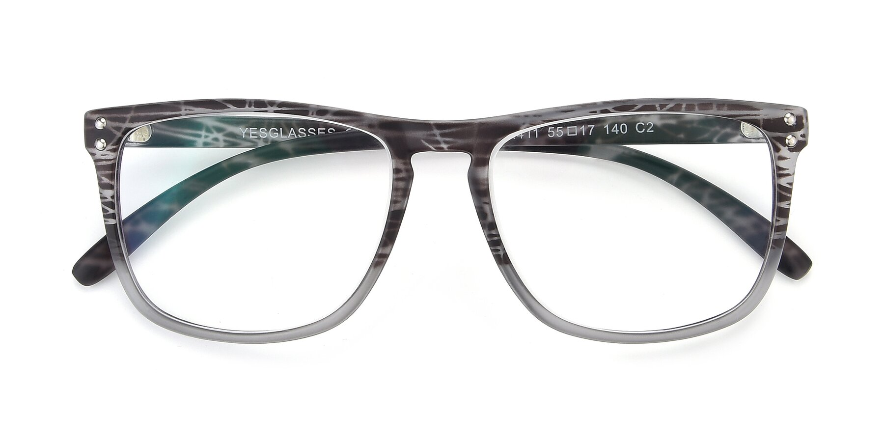 Folded Front of SSR411 in Translucent Floral Grey with Clear Eyeglass Lenses