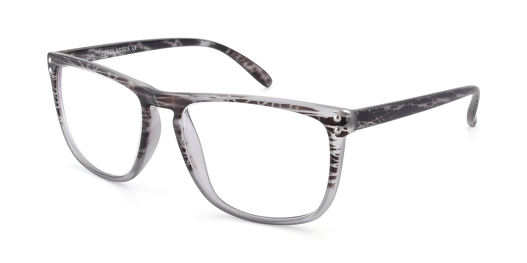Angle of SSR411 in Translucent Floral Grey with Clear Eyeglass Lenses