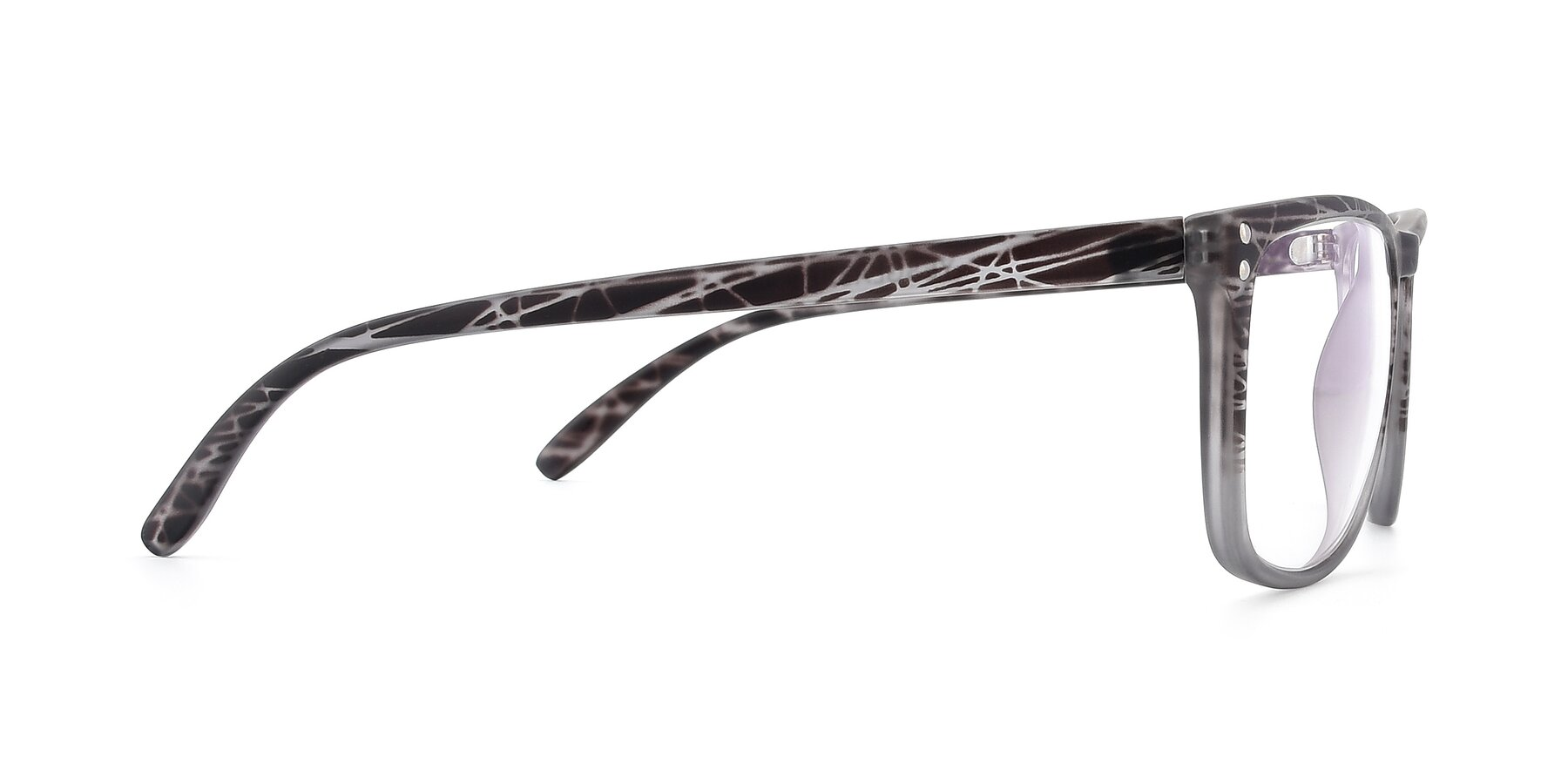 Side of SSR411 in Translucent Floral Grey with Clear Eyeglass Lenses