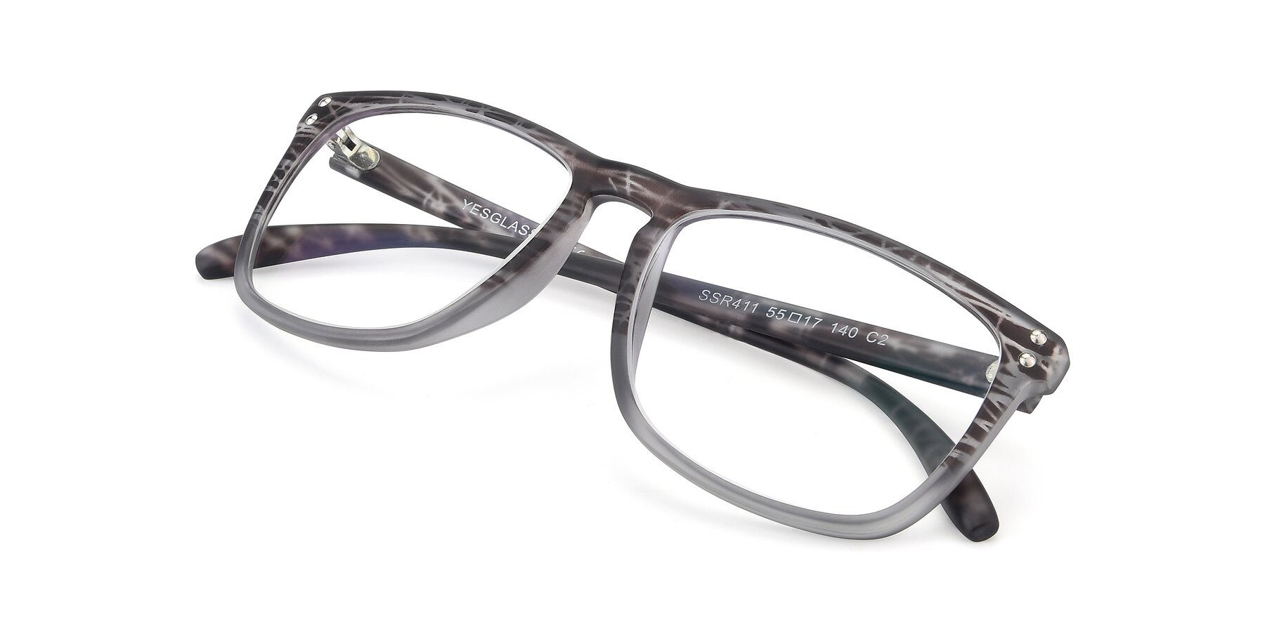 View of SSR411 in Translucent Floral Grey with Clear Eyeglass Lenses