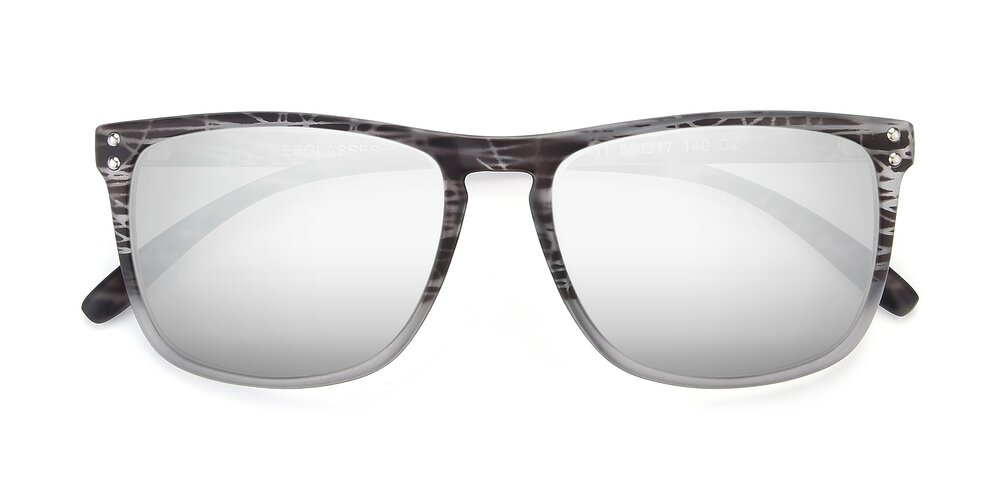 Translucent Floral Grey Grandpa Oversized Square Mirrored Sunglasses With Silver Sunwear Lenses