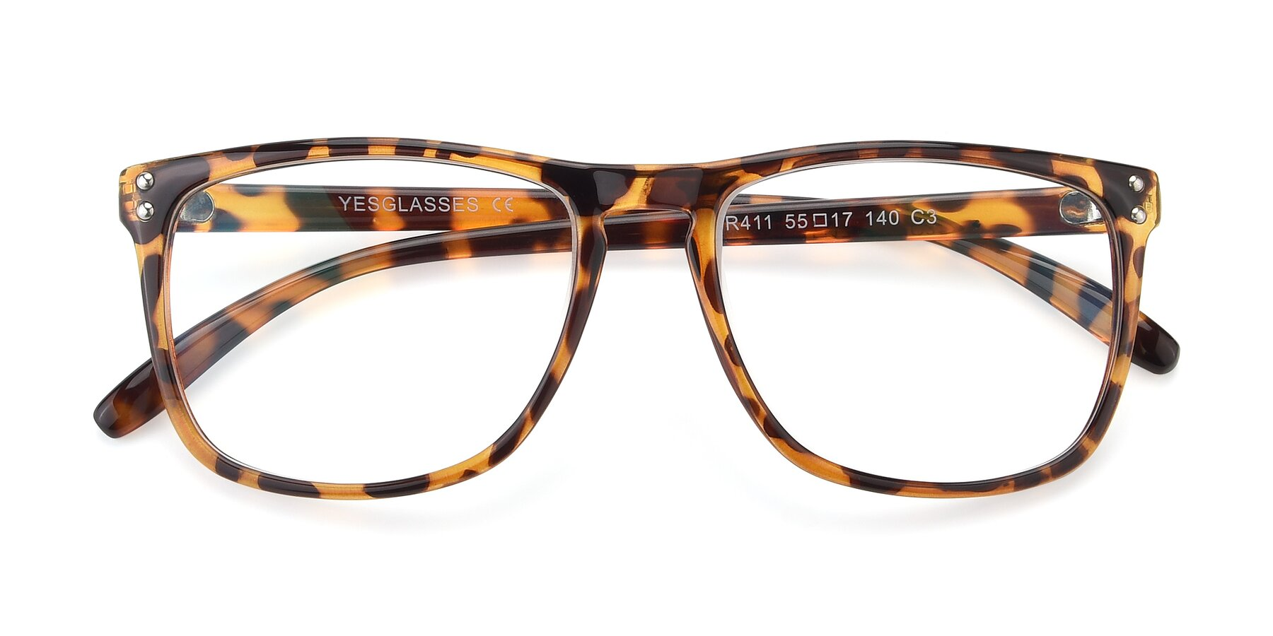 Folded Front of SSR411 in Translucent Orange Tortoise with Clear Eyeglass Lenses