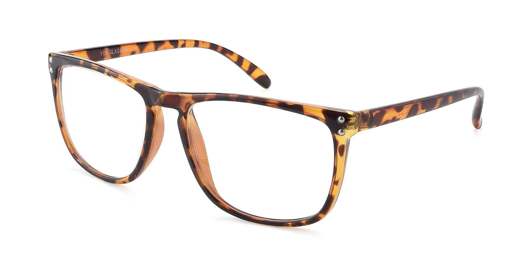 Angle of SSR411 in Translucent Orange Tortoise with Clear Eyeglass Lenses