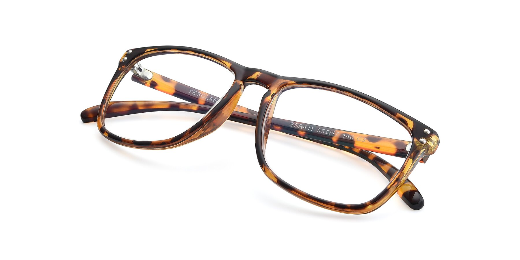 View of SSR411 in Translucent Orange Tortoise with Clear Eyeglass Lenses