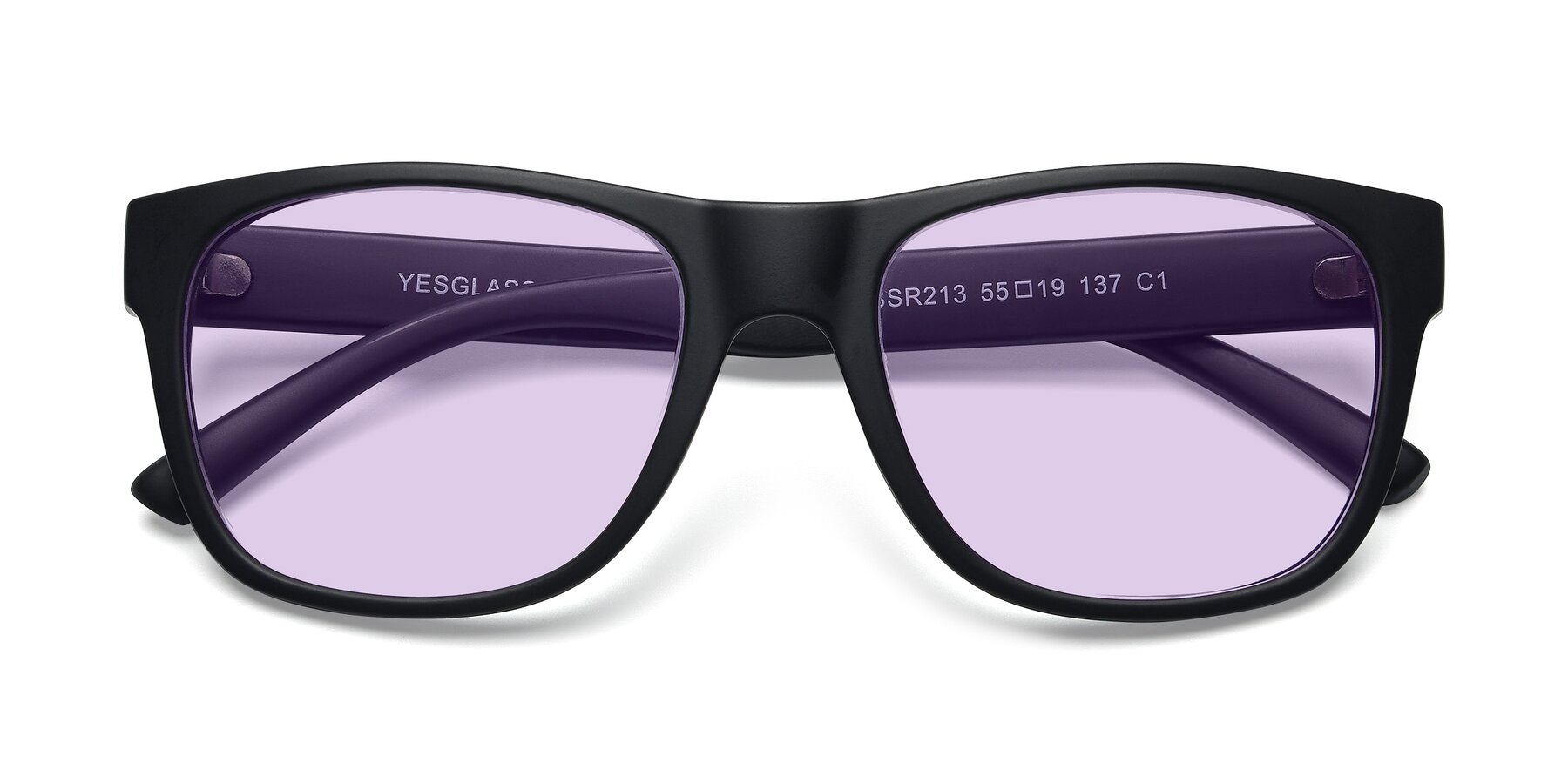 Folded Front of SSR213 in Matte Black with Light Purple Tinted Lenses