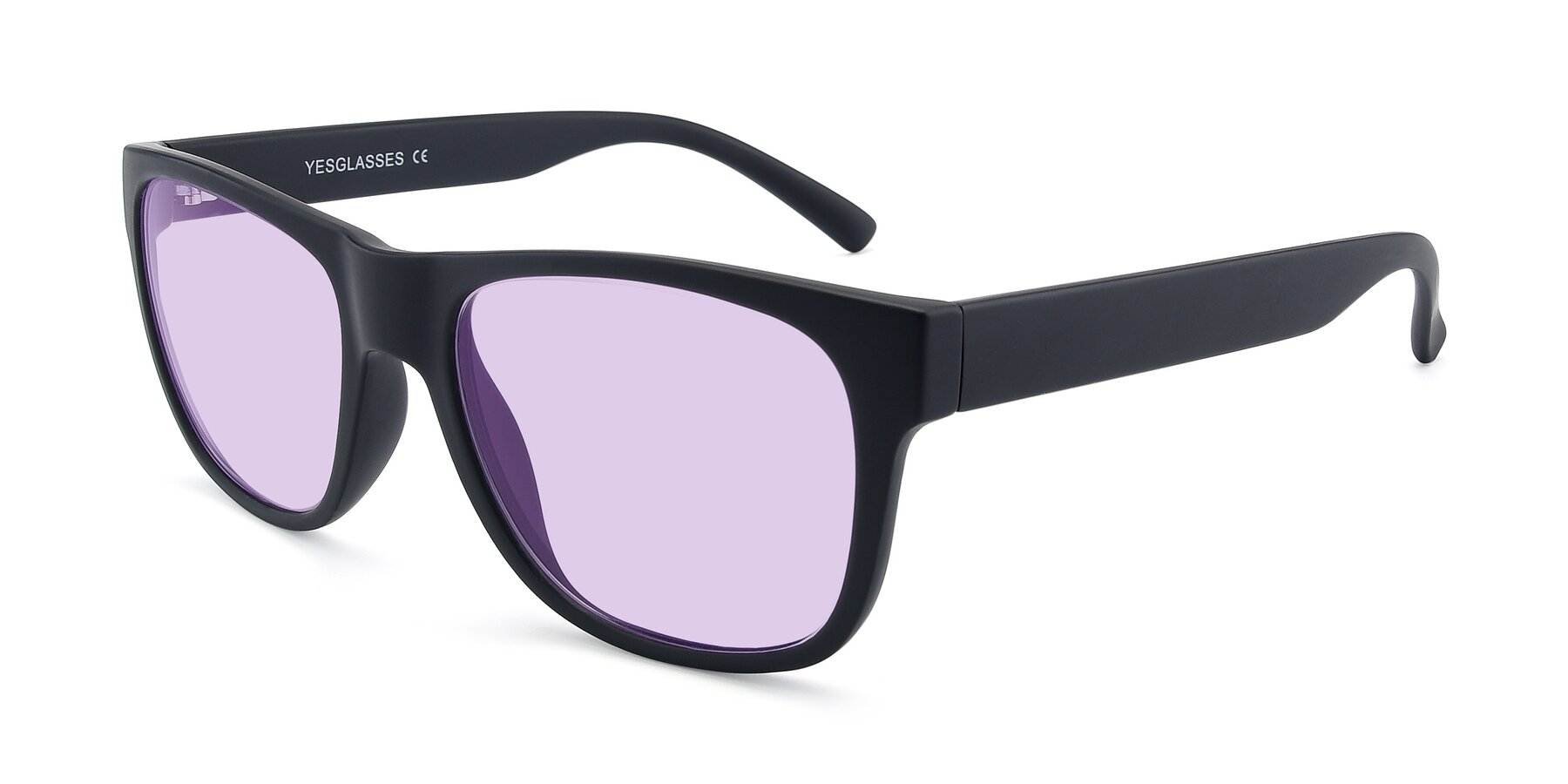 Angle of SSR213 in Matte Black with Light Purple Tinted Lenses
