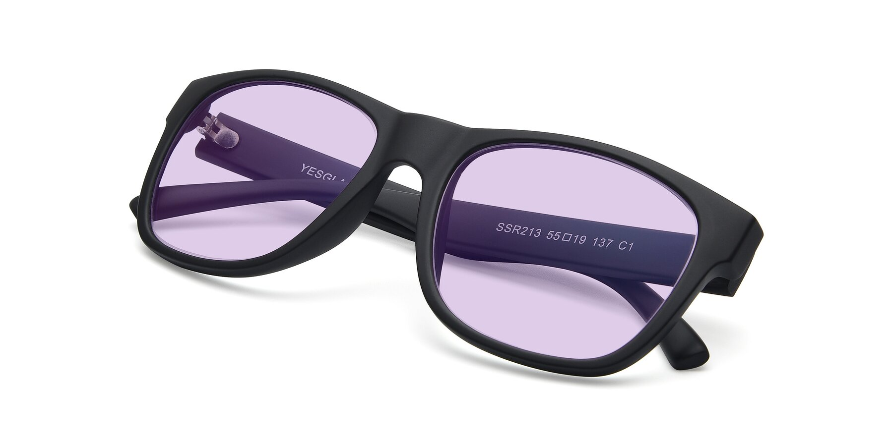 View of SSR213 in Matte Black with Light Purple Tinted Lenses