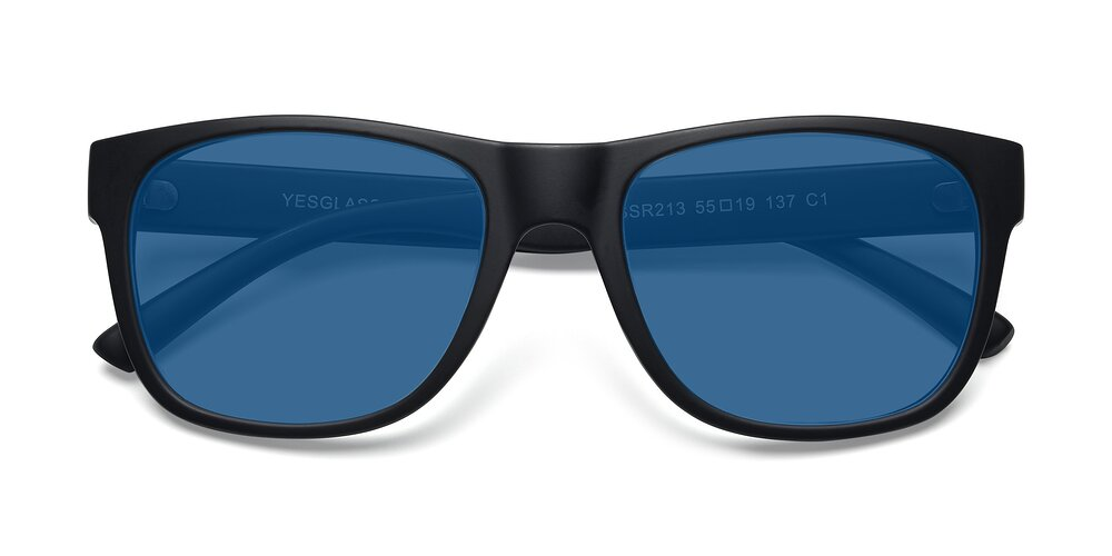 Matte Black Oversized Geek-Chic Shield Tinted Sunglasses With Blue Sunwear Lenses