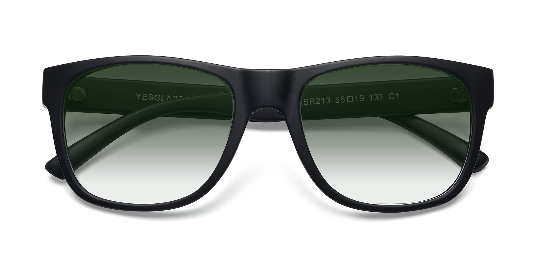 Folded Front of SSR213 in Matte Black with Green Gradient Lenses