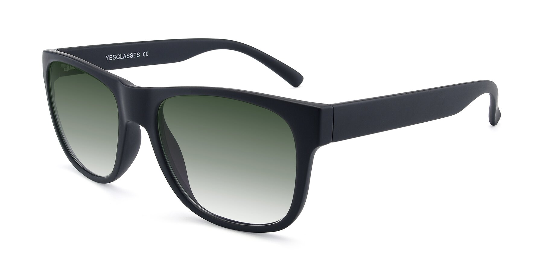 Angle of SSR213 in Matte Black with Green Gradient Lenses