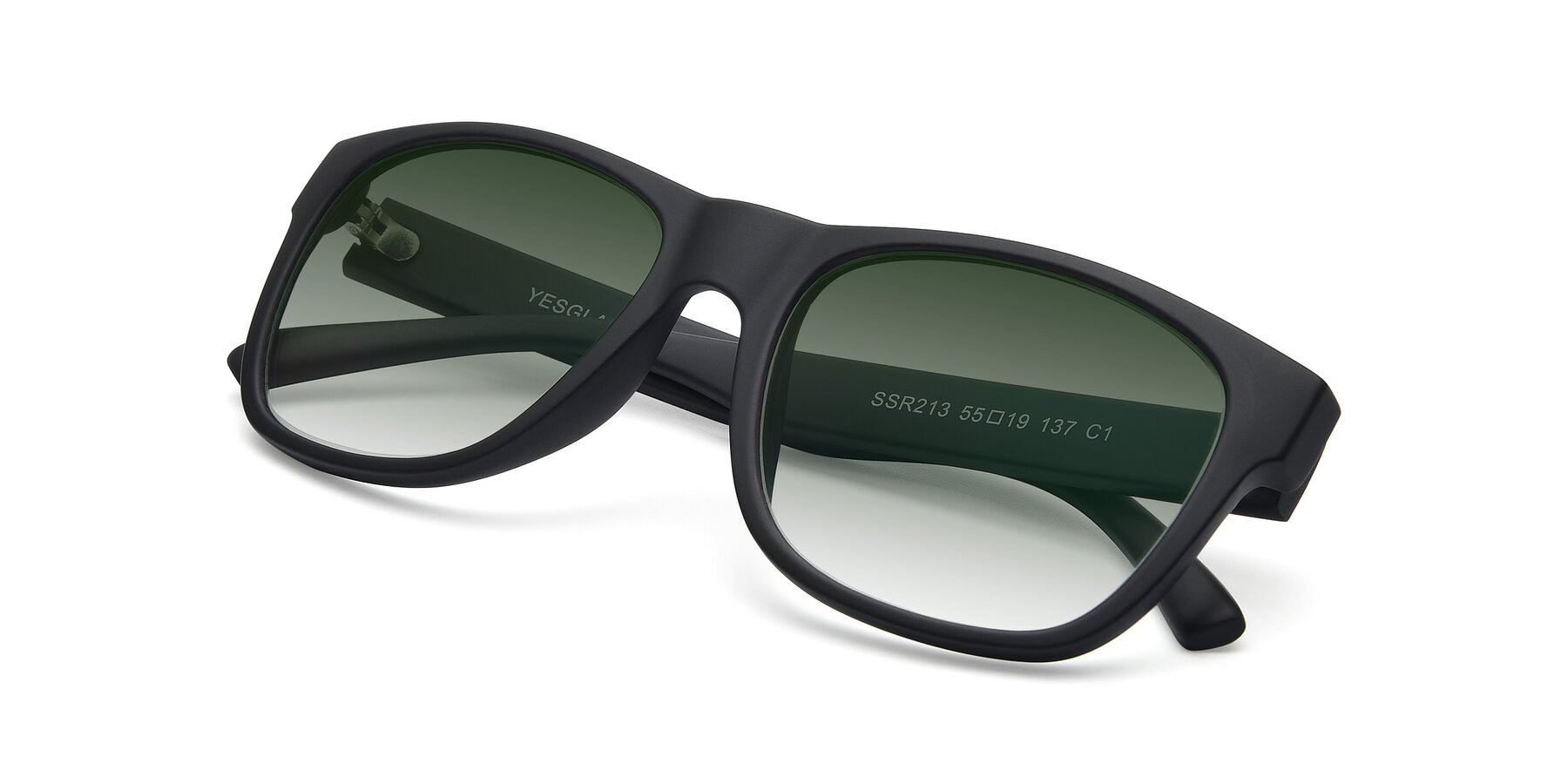 View of SSR213 in Matte Black with Green Gradient Lenses