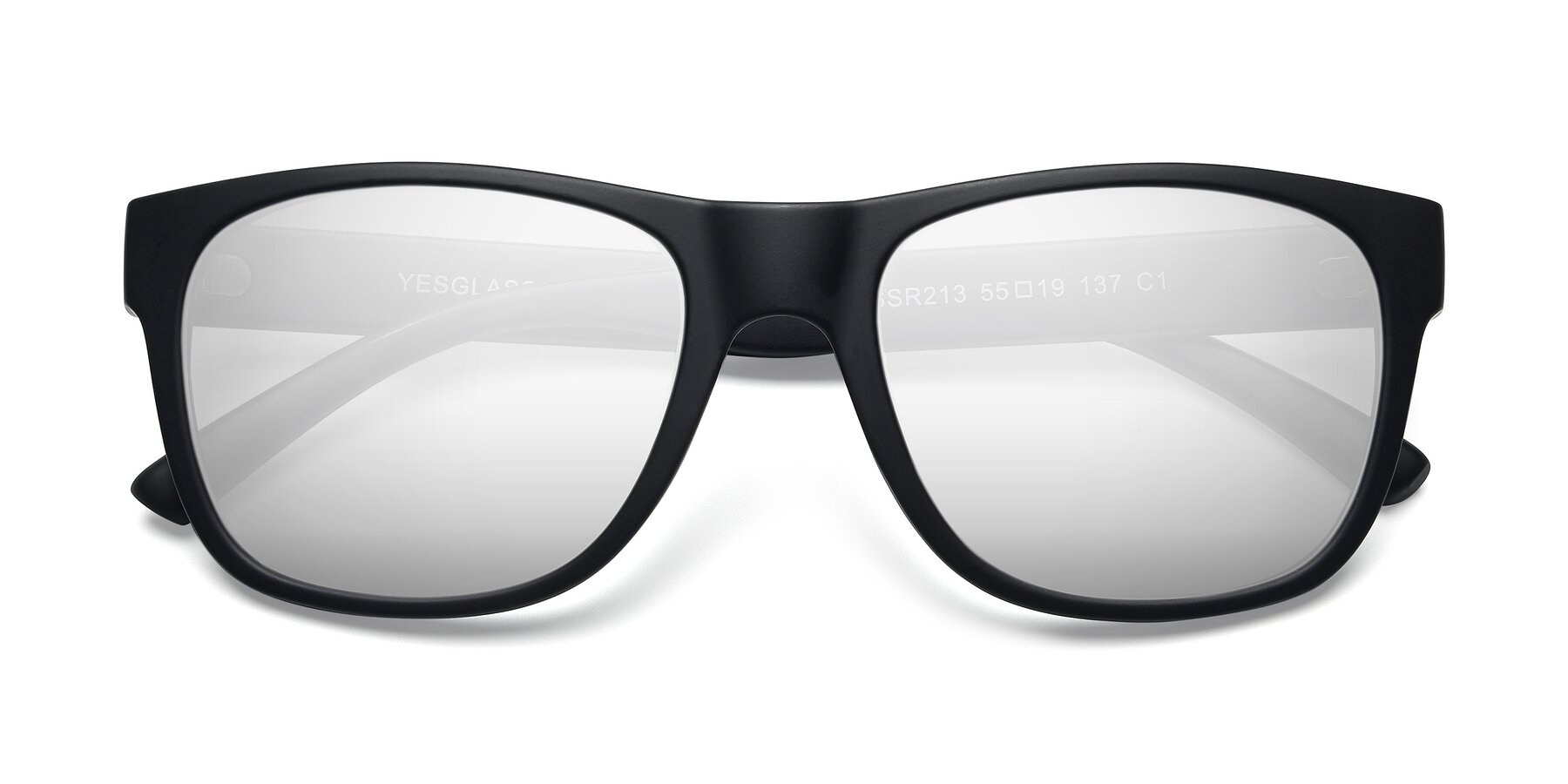 Folded Front of SSR213 in Matte Black with Silver Mirrored Lenses
