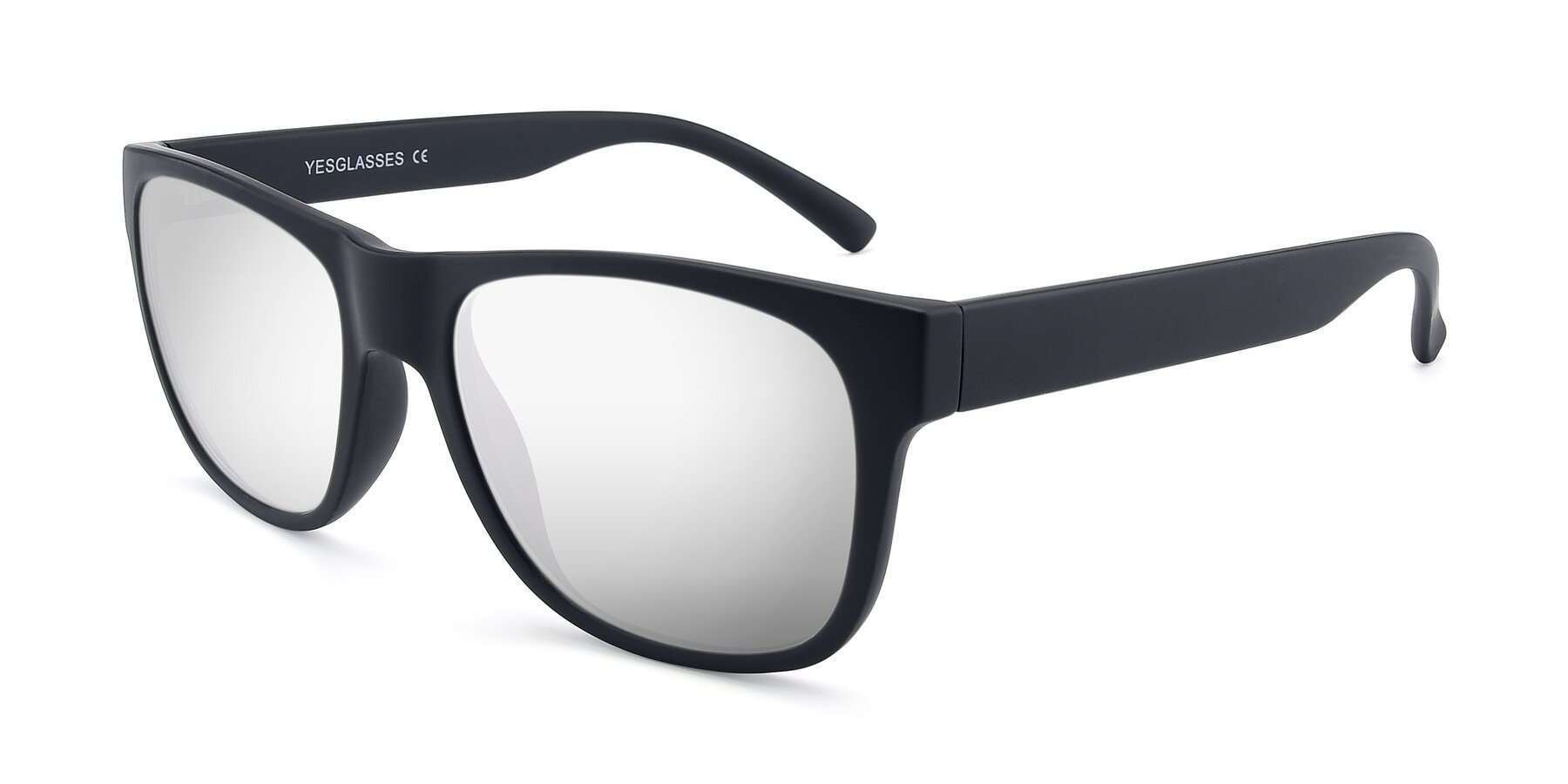Angle of SSR213 in Matte Black with Silver Mirrored Lenses